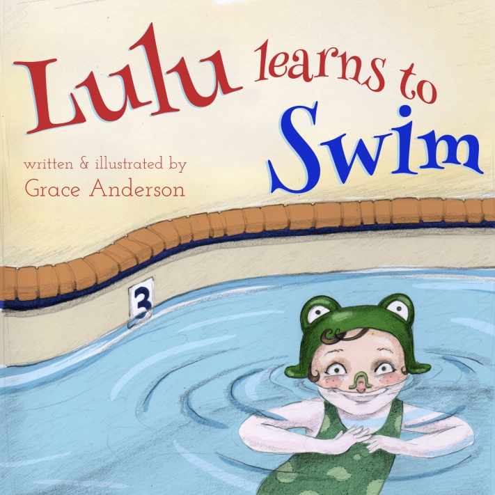 Lulu Learns to Swim children's book written and illustrated by Grace Anderson