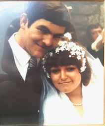 The volunteer sent this photo of their parent's wedding day. The father was described as a retired firefighter 'with a chocolate addiction'.
