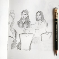 Being a total creep at breakfast by drawing the ladies at the other table.