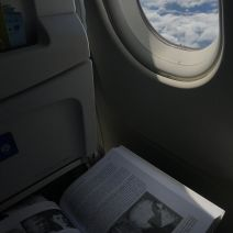 Last minute studying on the plane.